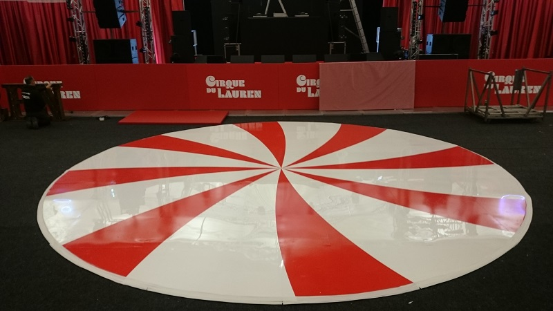 Red and White Circular Dance Floor for Hire