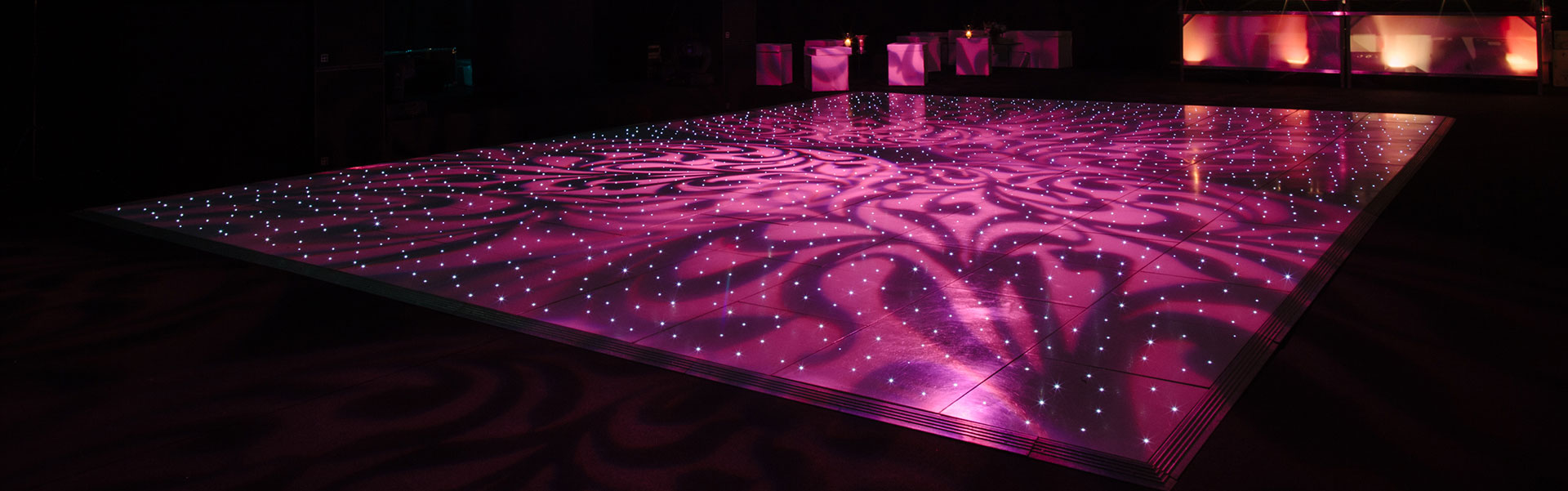 Illuminated Black Dance floor from Albert Hall Dancefloors