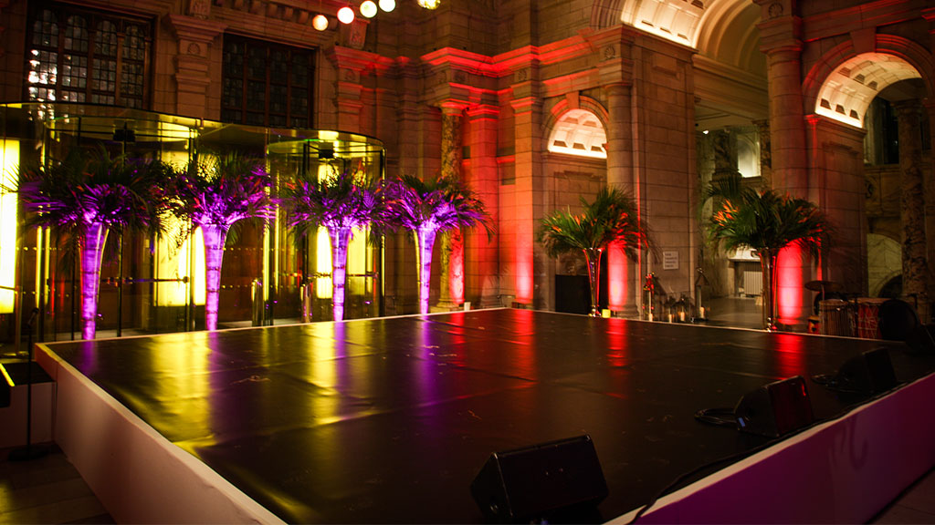 Plastic topped Staging for hire from Albert Hall Dancefloors